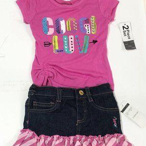 Coogi Luv Cotton top and denim skirt 2 piece set